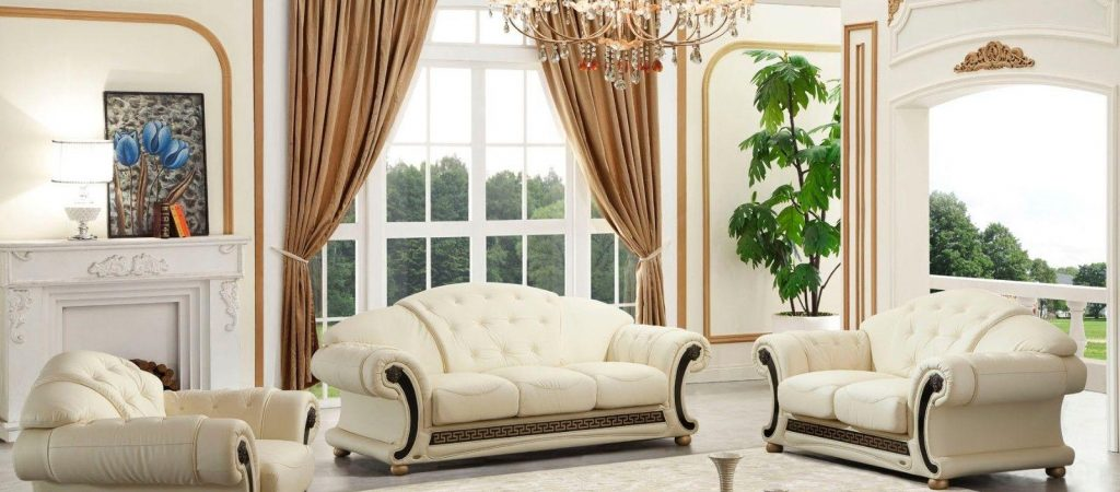 Versace Cleopatra Cream Italian Leather Living Room Sofa Loveseat within 13 Smart Ways How to Craft Versace Living Room Set - Tavernierspa